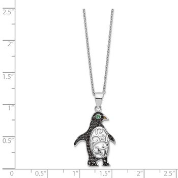 Cheryl M SS Black Rhod B&W CZ Green Glass Penguin Necklace