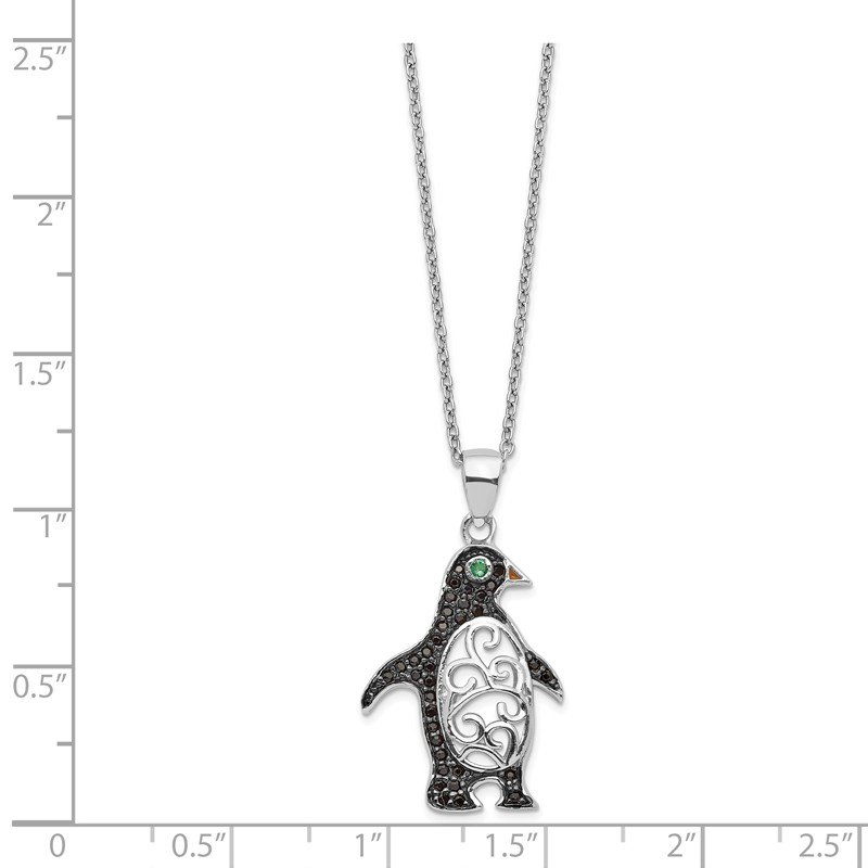 Cheryl M Cheryl M SS Black Rhodium B&W CZ Green Glass Penguin 18.25in Necklace