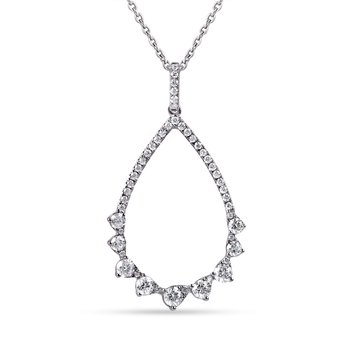 "14K Tear Drop Pendant 49 Diamonds 0.68C, 18"" chain"