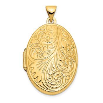 14k Yellow Gold Scroll Oval Locket