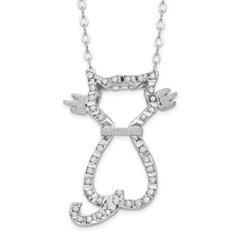 Quality Gold Sterling Silver Diamond Mystique 18in Cat Necklace