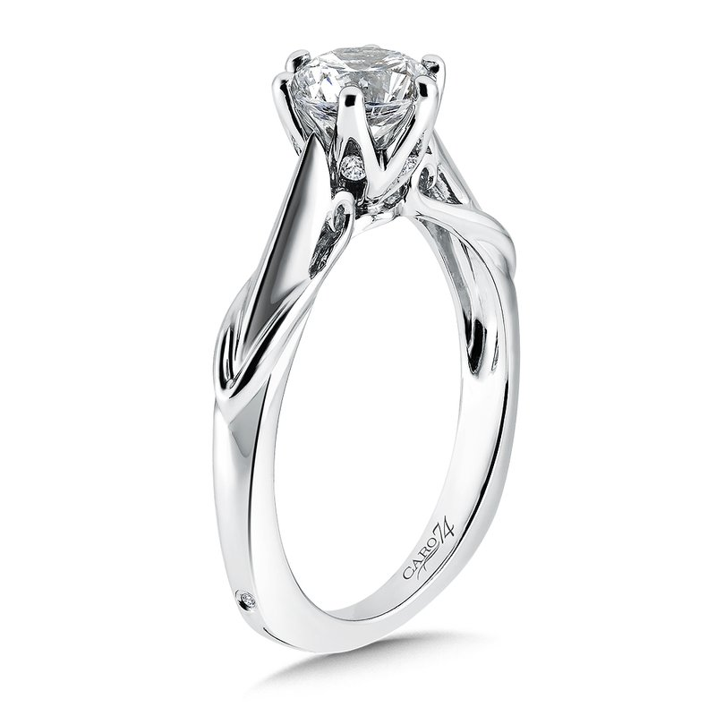 Caro74 Round Six-Prong Solitaire Engagement Ring in 14K White Gold with Platinum Head (1ct. tw.)