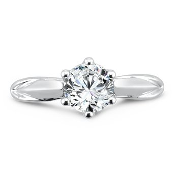 Round Six-Prong Solitaire Engagement Ring in 14K White Gold with Platinum Head (1ct. tw.)