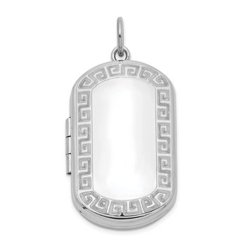 Sterling Silver Rhodium-plated Greek Key Border Rectangular Locket