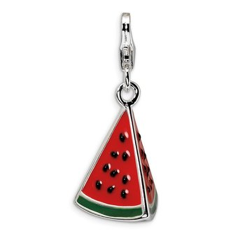 Sterling Silver RH 3-D Enameled Watermelon Wedge w/Lobster Clasp Charm