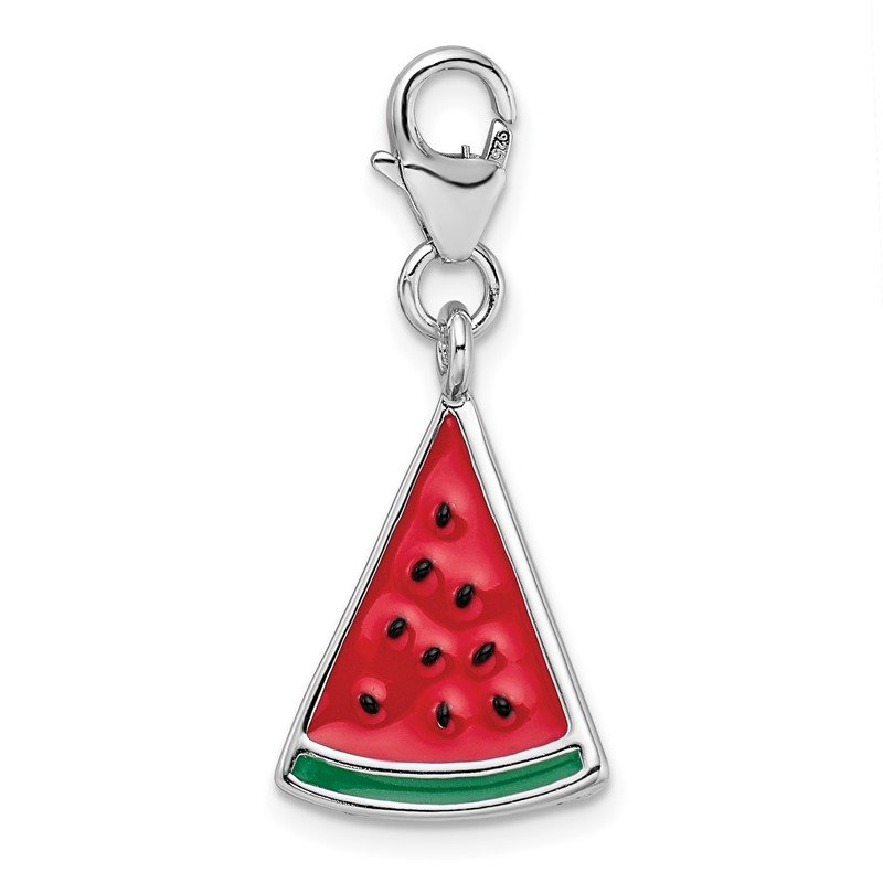 Quality Gold Sterling Silver RH 3-D Enameled Watermelon Wedge w/Lobster Clasp Charm