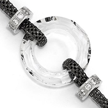 Leslie's Sterling Silver Blk-plated Crystal Bracelet w/1in ext.