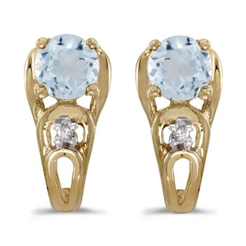 10k Yellow Gold Round Aquamarine And Diamond Earrings