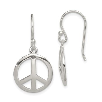 Sterling Silver Polished Peace Dangle Earrings