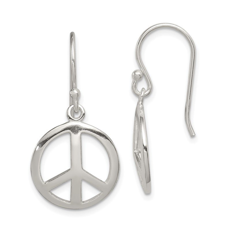 Quality Gold Sterling Silver Polished Peace Dangle Earrings