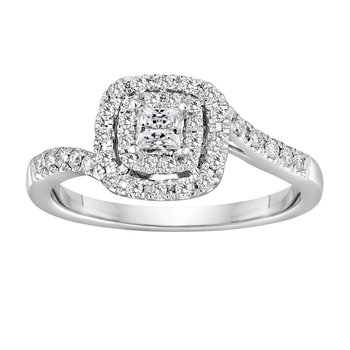 BLISS7: 14KW Double Halo Engagement Ring