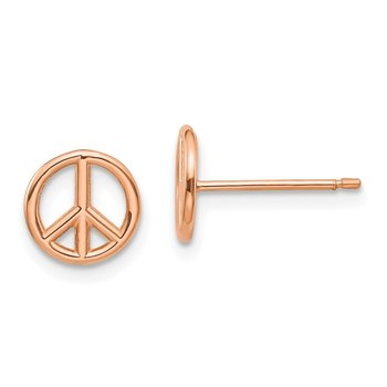 14K Rose Gold Polished Peace Symbol Post Earrings