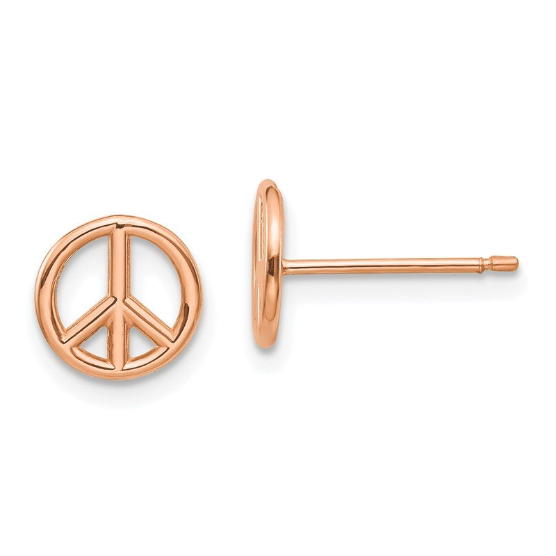 Quality Gold 14K Rose Gold Polished Peace Symbol Post Earrings