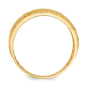 14K Gold Polished Textured Dome Ring