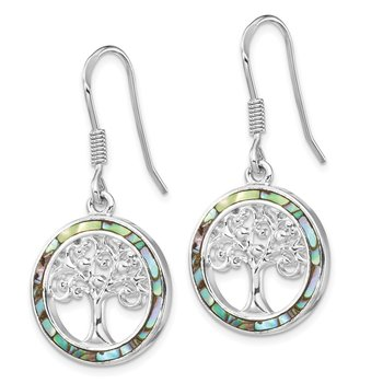 Sterling Silver Rhodium-plated Abalone Circle w/ Tree Dangle Earrings