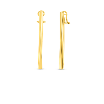 18K GOLD CONTOURED STICK EARRING