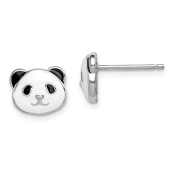 Sterling Silver Rhodium-plated Madi K Enamel Panda Bear Post Earrings
