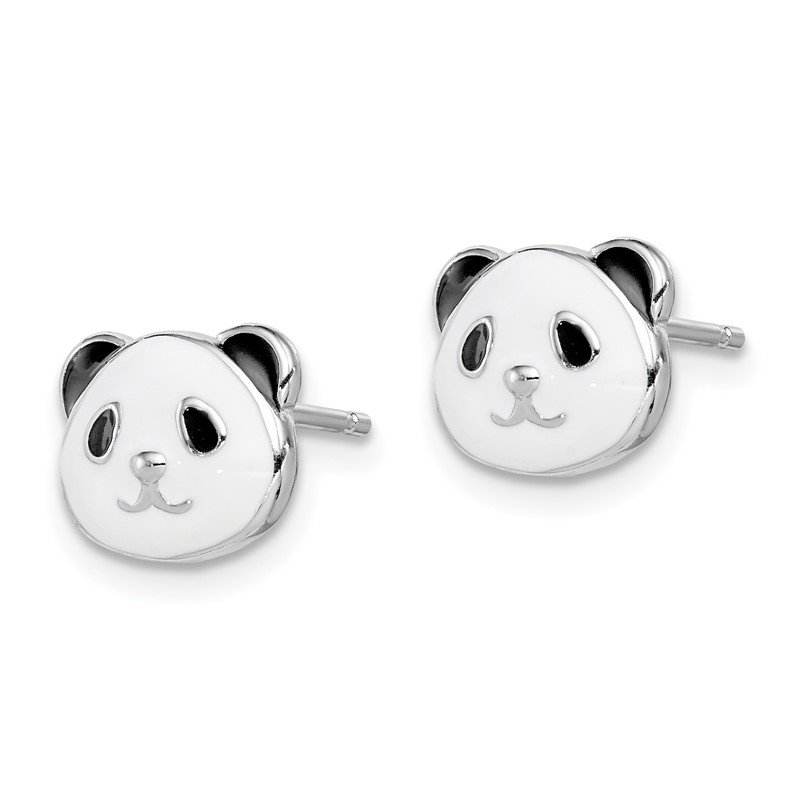 Quality Gold Sterling Silver Rhodium-plated Madi K Enamel Panda Bear Post Earrings