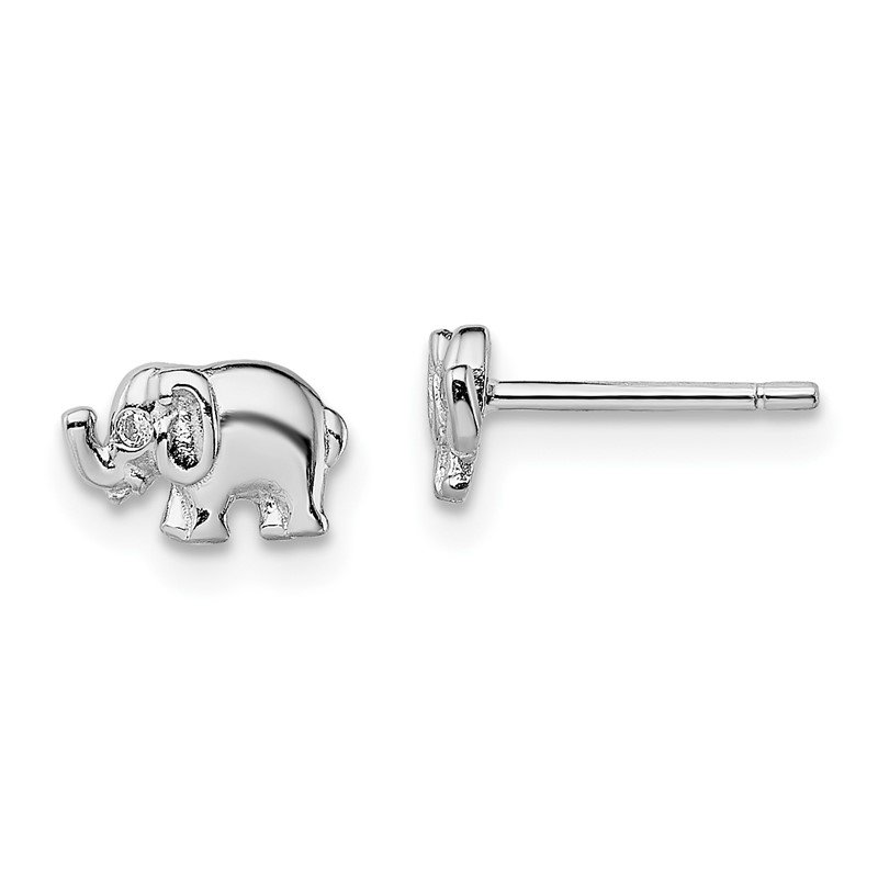Quality Gold Sterling Silver Rhodium-plated CZ Elephant Post Earrings