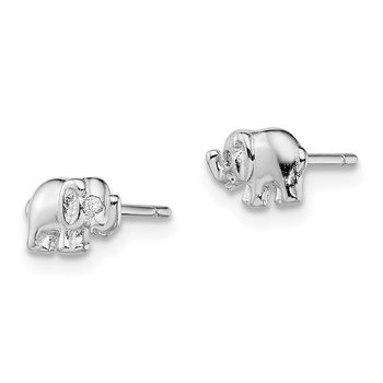 Sterling Silver Rhodium-plated CZ Elephant Post Earrings