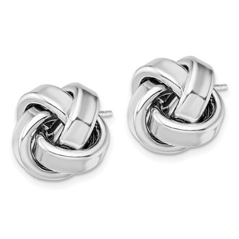 Sterling Silver Rhodium Plated Polished Love Knot Post Earrings