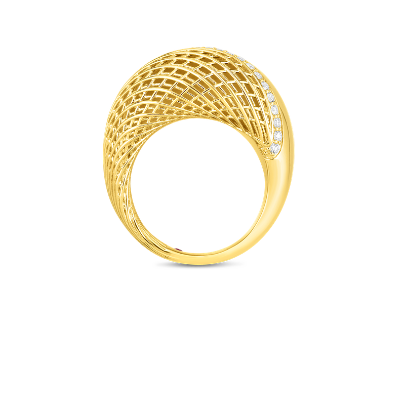 Roberto Coin  #28493 Of 18Kt Gold Domed Ring With Diamonds