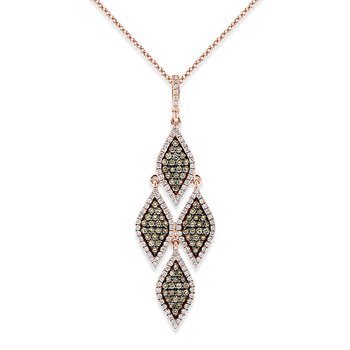 Champagne And White Diamond Marquise Drop Necklace in 14k Rose Gold with 199 Diamonds weighing 1.12ct tw.