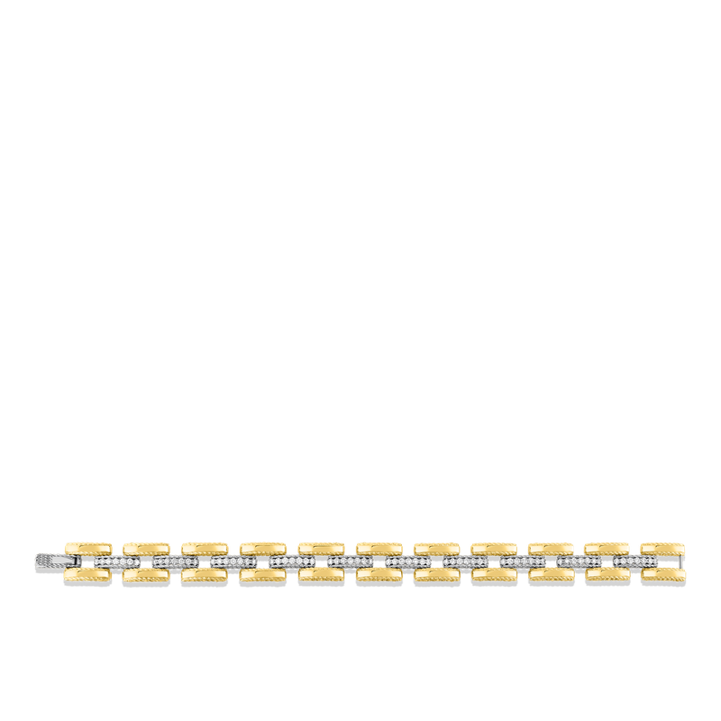 Roberto Coin  #28377 Of 18Kt Gold Slim Retro Link Bracelet With Diamonds