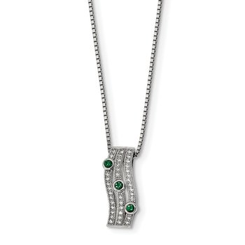 SS Rhodium-Plated CZ Brilliant Embers Polished Necklace