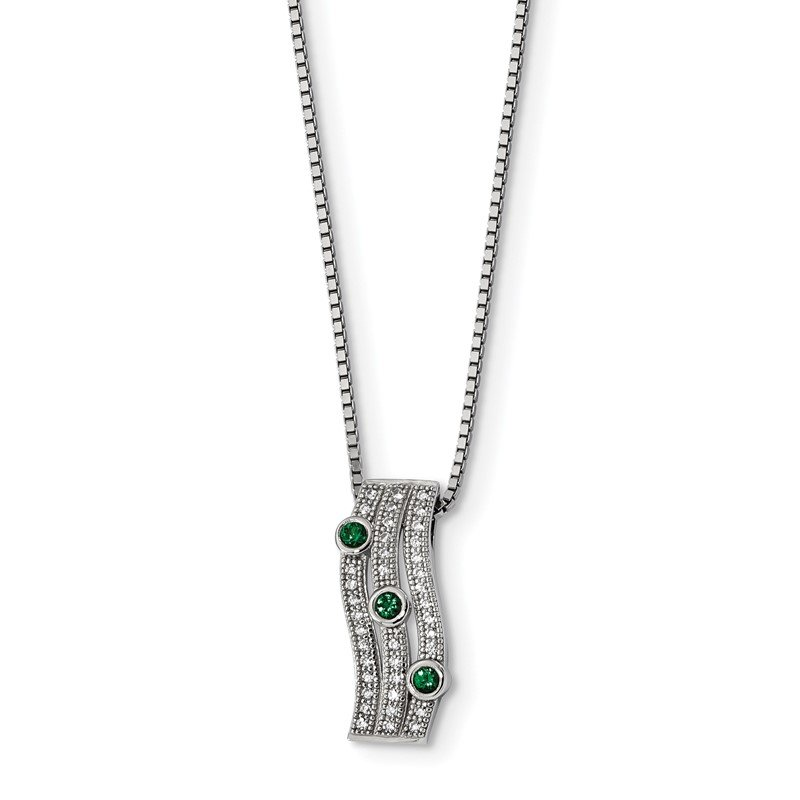 Arizona Diamond Center Collection Sterling Silver Brilliant Embers Rhodium-plated CZ Polished Necklace