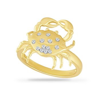 14K CRAB RING WITH 13 DIAMONDS 0.10CT, CRAB 16.8MM