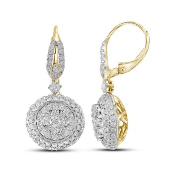 14kt Yellow Gold Womens Round Diamond Circle Cluster Dangle Earrings 2-1/5 Cttw