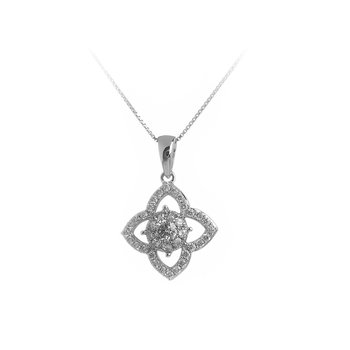 14K WG Diamond Galaxy Pendant  in Flower Design
