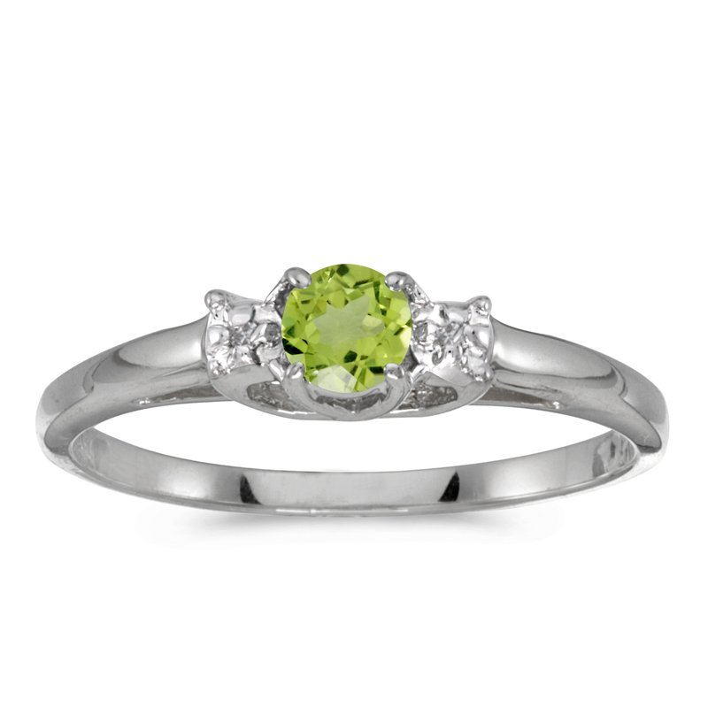 Color Merchants 10k White Gold Round Peridot And Diamond Ring