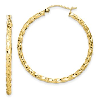 10K Twisted Diamond Cut 35mm Hoop Earrings
