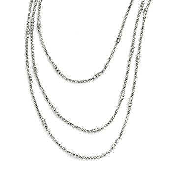 Leslie's Sterling Silver Textured Three Strand Necklace