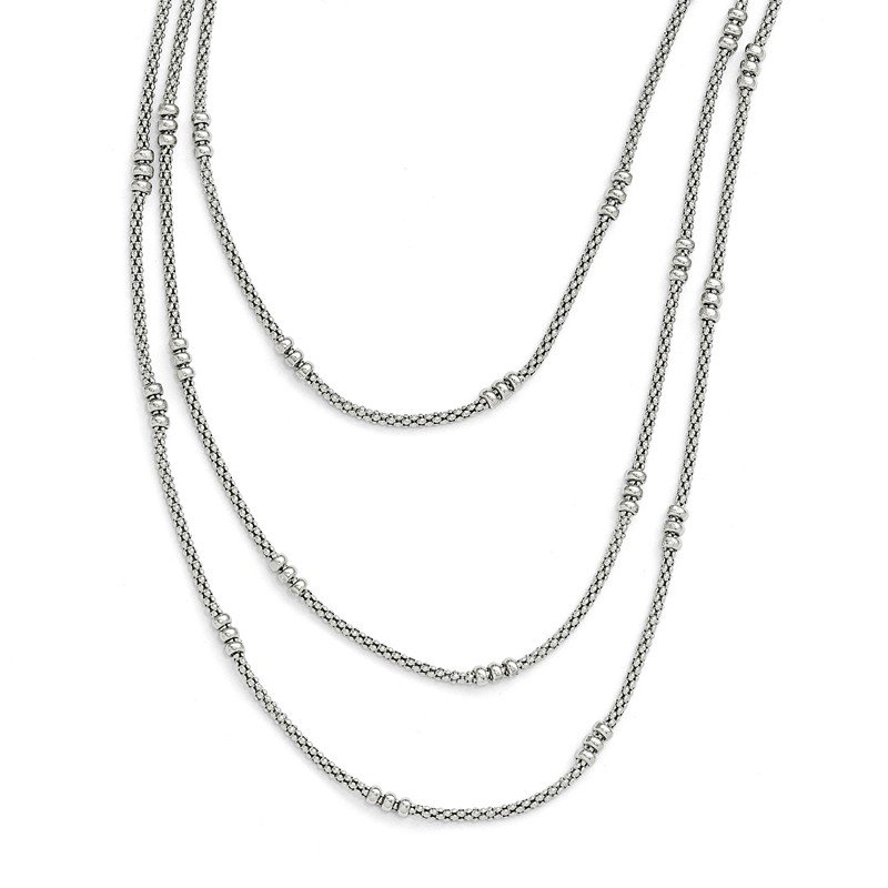 Leslie's Leslie's Sterling Silver Textured Three Strand Necklace