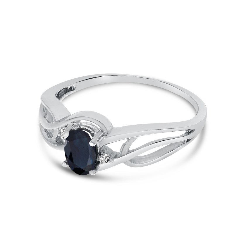 Color Merchants 10k White Gold Oval Sapphire And Diamond Curve Ring