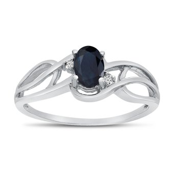 10k White Gold Oval Sapphire And Diamond Curve Ring