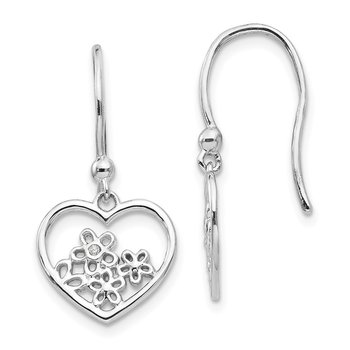 SS White Ice Heart Shaped w/ Flower Shepherd Hook Earrings
