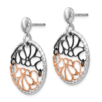 Leslie's Sterling Silver Ruthenium & Rose-tone Flash Plated Earrings