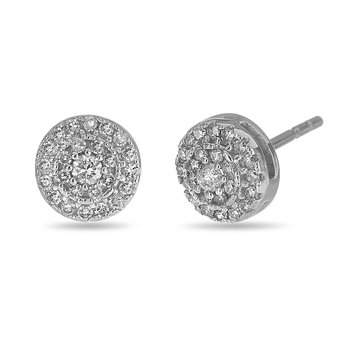 925 SS and Diamond Circle Stud Earrings in Prong Setting