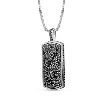 LuvMyJewelry Fossil Agate Stone Tag in Sterling Silver & Black Rhodium