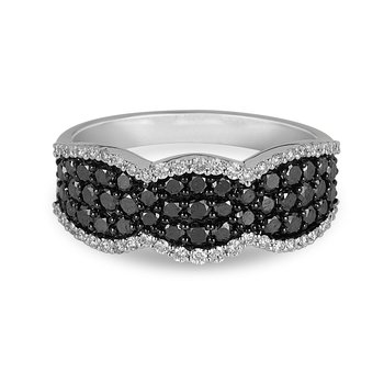 14K WG Black & White Diamond 3 Curve Edge Design Ring