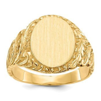 14k 13.0x10.5mm Closed Back Men's Signet Ring