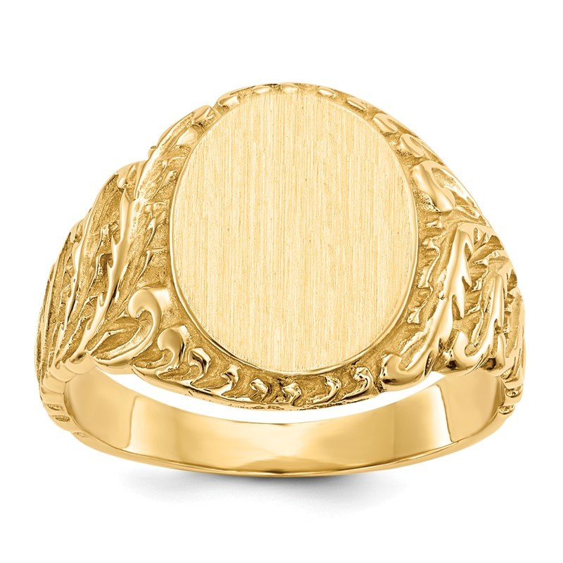 Quality Gold 14k 13.0x10.5mm Closed Back Men's Signet Ring