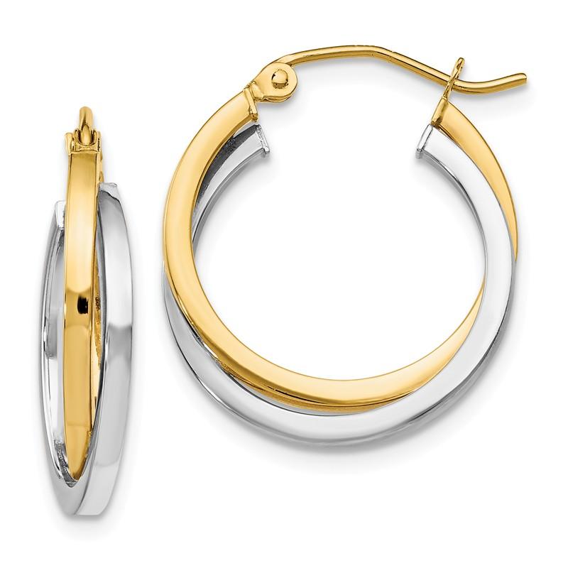 Leslies 14k Two Tone Gold C.Z Earrings