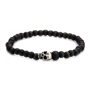 Stainless Steel Skull and Carbon Graphite Beads Bracelet