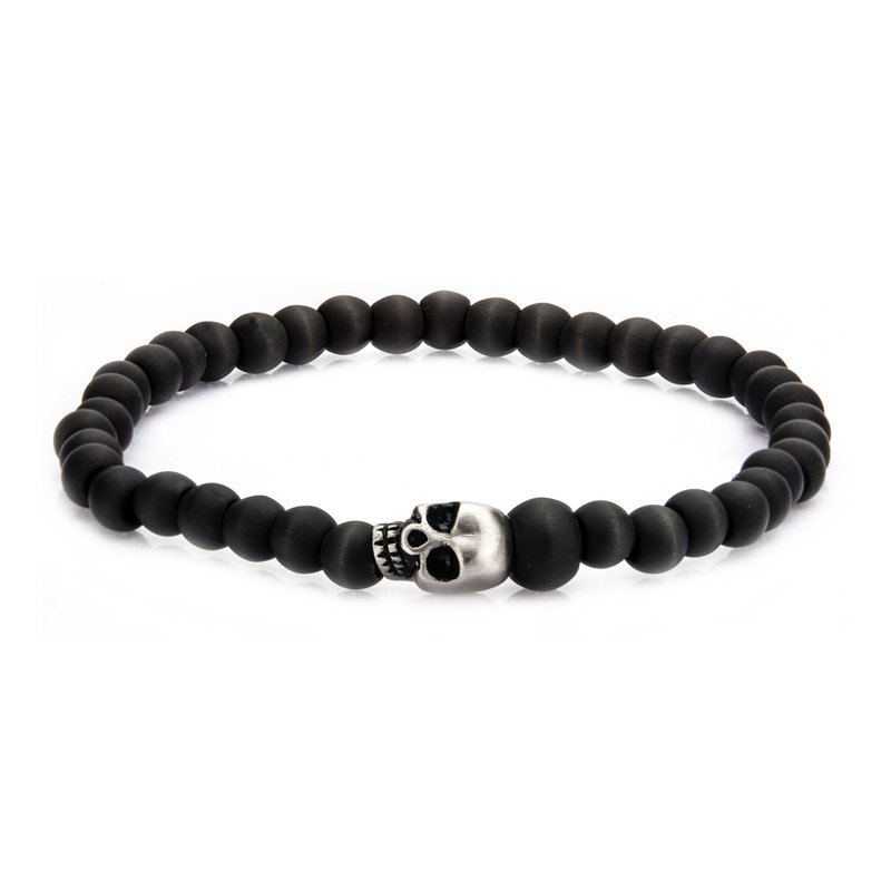 INOX Men's Jewelry Stainless Steel Skull and Carbon Graphite Beads Bracelet