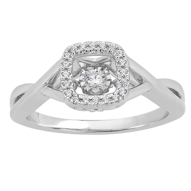 Heartbeat Collection 14KW 1/8CTW SQUARE SHAPE HEARTBEAT & MIRACLE PLATE RING